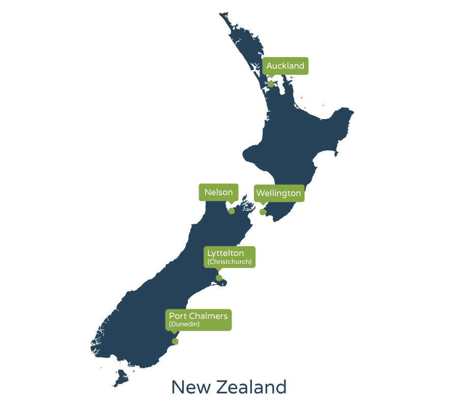 Map of New Zealand showing car shipping locations